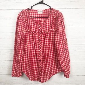 Anthropologie | Holding Horses Pink Plaid Blouse